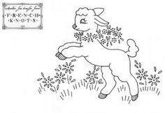 Redwork Embroidery baby lamb embroidery pattern - Little lambs embroidery patterns for all of you that love woolies. Christmas Embroidery Patterns, Baby Embroidery, Embroidery Scissors, Embroidery Transfers, Embroidery Patterns Free, Vintage Embroidery, Embroidery Stitches, Machine Embroidery, Embroidery Designs