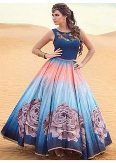 Traditional Blue Ready Made Gown - PRESTIGE1028