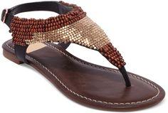Delancey Beaded Flat Thong Sandals - Lyst