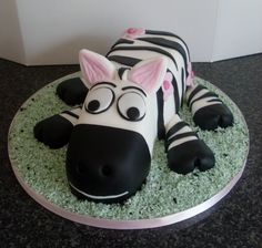 Zebra Cake Could be adapted to be other animals, good idea with the bread loaf base for the body.
