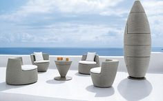 Dedon, designed by Frank Ligthart | save space with slick, stackable outdoor furniture | @meccinteriors | design bites