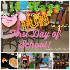 10 Ways to Add Some Fun to Your First Day of School! by Raising Clovers - Looking to make some memories and have some fun on your first day back to school? Well, look no further! This post is PACKED with fun ideas to make your first day awesome! http://www.raisingclovers.com/2014/08/13/10-ways-to-add-some-fun-to-your-first-day-of-school/
