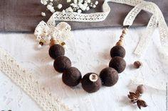 """Колье, бусы ручной работы. Ярмарка Мастеров - ручная работа. Купить Бохо бусы """" Ванильный шоколад """". Handmade."""
