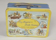 """This steel lunch box features Roy Rogers and Dale Evans, the stars of """"The Roy Rogers Show"""" (1951-1957), was one of the first officially licensed lunch boxes manufactured by Thermos."""