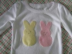 "peeps! thinking this could be a quick no sew easter shirt for the girls. felt and maybe cute ""bead"" eyes?"