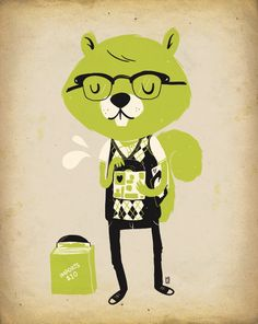 From a series of nerdy animals by Lauren Gregg.