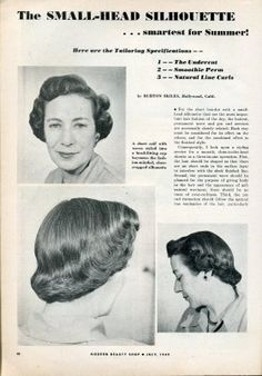 The Small Head Silhouette Hairstyle. #vintage #hair
