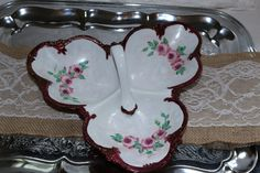 Vintage 1970s Hand Painted Porcelain Rose Divided Serving Tray Wedding Parties Bridal Shower Collectible Dining Nut Mint Shabby Cottage by TresorsEnchantes on Etsy