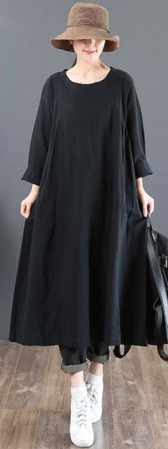 stylish black natural linen dress casual o neck linen gown New long sleeve autumn dressMost of our dresses are made of cotton linen fabric, soft and breathy. loose dresses to make you comfortable all the time. Boho Outfits, Casual Outfits, Fashion Outfits, Casual Jeans, Fashion 2018, Trendy Dresses, Casual Dresses, Estilo Boho, Linen Dresses