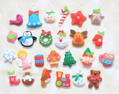 Christmas ornaments for advent calendar Christmas decoration accents Felt ornaments Christmas Tree Ornament stocking stuffer Santa plush Nativity Ornaments, Felt Christmas Ornaments, Christmas Nativity, Christmas Tree Decorations, Christmas Crafts, Baby Mobile, Glass Birds, Love Gifts, Felt Crafts