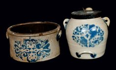 "Price Realized: $ 287.50 Two Pieces of Cobalt-Stenciled Stoneware, Stamped ""F.H. COWDEN / HARRISBURG, PA,"" circa 1880, a one-gallon butter crock with stylized stenciled foliate design, paired with a batter pail with swag-decorated"