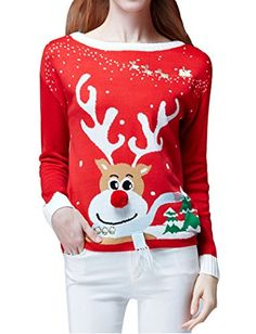Women Christmas Sweater, V28 Ugly Cute Vintage Knit Xmas Pullover ...