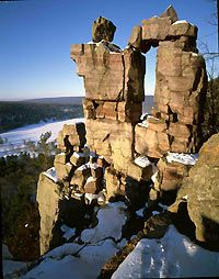Devils Lake State Park, Wisconsin, Doorway-shaped rock formation, great site for rock climbing, one day pass ($7)