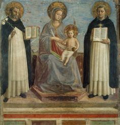 Fra Angelico Virgin and Child with Saints Dominic and Thomas Aquinas, , The Hermitage, St. Read more about the symbolism and interpretation of Virgin and Child with Saints Dominic and Thomas Aquinas by Fra Angelico. Fra Angelico, Madonna Und Kind, Madonna And Child, Saint Dominic, Renaissance Kunst, Italian Renaissance, Renaissance Fashion, Catholic Art, Religious Art