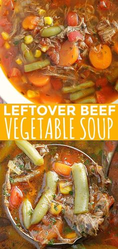 This Beef Vegetable Soup uses help from leftover beef pot roast and canned vegetables but it still tastes homemade. This Beef Vegetable Soup uses help from leftover beef pot roast and canned vegetables but it still tastes homemade. Leftover Beef Recipes, Leftover Roast Beef, Healthy Beef Recipes, Beef Soup Recipes, Pot Roast Recipes, Leftovers Recipes, Cooking Recipes, Shredded Beef Recipes, Beef Soups