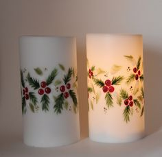Hand painted LED Candle Daisies - pinned by pin4etsy.com