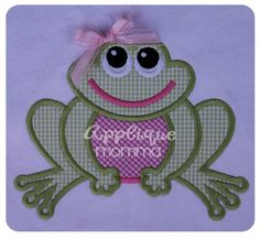 Frog Applique Design  Comes in sizes for the 4x4 hoop, 5x7 hoop, and 6x10 hoop in a satin and zigzag finish in each size.  Formats Included: ART, DST, EXP, HUS, VIP, XXX, JEF, PES, SEW   Finished Sizes:4x4=(3.0W X 3.8H), 5x7=(5.0W X 6.4H), 6X10=(7.9W X6.2H