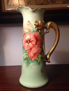 J.P Limoges Tankard hand painted with dragon handle