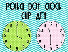 Polka dot clock clip art