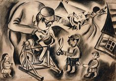 Ryback Issachar, In the Shtetl  Charcoal on paper Date: 	1917 Dimensions: 	42 x 60 cm