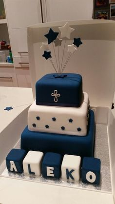 Christening Cake i made for a little boy