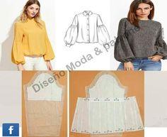 Dress Sewing Patterns, Blouse Patterns, Clothing Patterns, Blouse Designs, Fashion Sewing, Diy Fashion, Fashion Outfits, Sewing Clothes, Diy Clothes