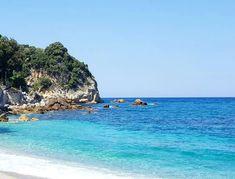 Shades of blue...🏊  Agioi Saranda beach  #amazing #greece #aegeansea #bluewaters #beach #blue #sky #sea #summertime