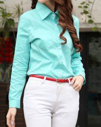 $10.30 Simple Design Women's Flat Collar Solid Color Long Sleeve Shirt