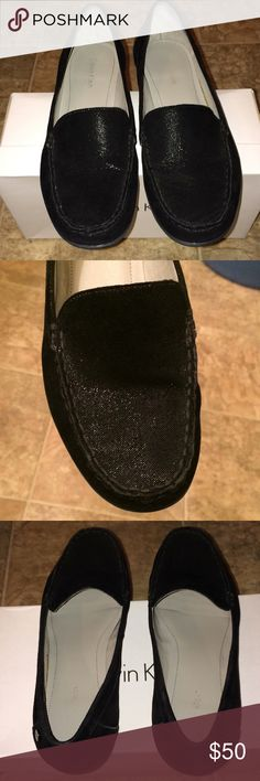 Calvin Klein Loafer Calvin Klein Women's Shimmer Loafer.       Original Box..........  Color: Black Size: 6m  EXCELLENT CONDITION - LOOKS NEW. WORN ONCE........ Calvin Klein Shoes Flats & Loafers