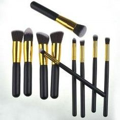 trendsgal.com - Trendsgal 10 Pcs Wooden Handle Nylon Makeup Brushes Set - AdoreWe.com