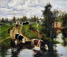 Alexei Stepanov, Watering Cows, 1908