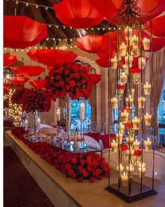Red Party Decorations, Valentines Day Decorations, Decoration Party, Party Themes, Party Ideas, Valentines Day Weddings, Valentines Day Party, Red Wedding, Wedding Colors