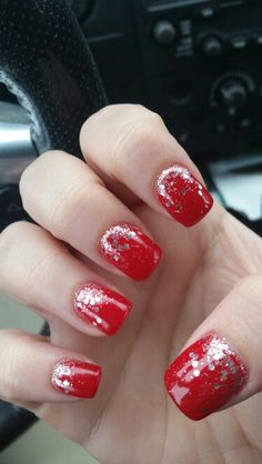 Christmas nails! Red apple red and silver  glitter  ombre