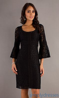 Short Scoop Neck Lace Dress at SimplyDresses.com