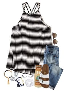 """the 57 questions tag / em"" by syd-em ❤ liked on Polyvore featuring Hollister Co., Birkenstock, Ray-Ban, Natasha Couture, Brooks Brothers and Lola Rose"