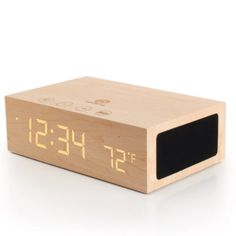 GOgroove BlueSYNC TYM Bluetooth Wireless Stereo Speaker & Wooden Alarm Clock w/ LED Time + Temperature Display for Phones, MP3 Players, Tablets, & More Accessory Power http://www.amazon.com/dp/B00C2ALKQ4/ref=cm_sw_r_pi_dp_MNDKub12DE0C9