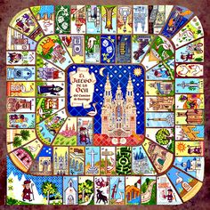 Game of the Goose (La Oca del Camino de Santiago). A fun way to learn about the del Santiago Speaking Games, Medieval, The Camino, Traditional Games, Saint James, Vintage Games, Table Games, Pilgrimage, Game Design
