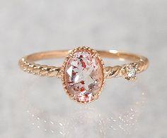 Dainty little strawberry quartz ring, simple elegance!