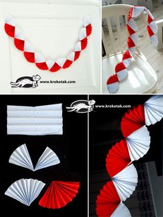A white and red garland Colors of black, gold and white can be used for a Gatsby themed party. Recruit friends and family to help get the job done faster. Paper Rosettes, Paper Flowers, Paper Decorations, Birthday Decorations, Diy For Kids, Crafts For Kids, Red Garland, Gatsby Themed Party, Diy And Crafts