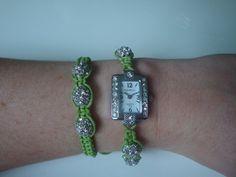 Lime Green Shamballa Watch & Bracelet by traceysjewellery on Etsy, Style Watch, Handmade Jewellery, Fashion Watches, Bracelet Watch, Lime, Bracelets, Green, Etsy, Accessories