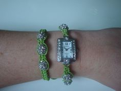 Lime Green Shamballa Watch & Bracelet by traceysjewellery on Etsy, £29.98