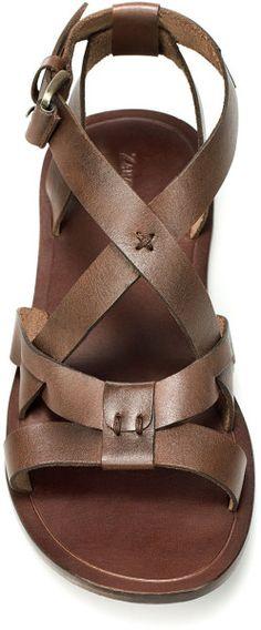 Zara Leather Roman Sandal in Brown for Men