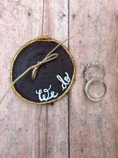 Ring Holder - Ring Bearer Pillow Alternative - Rustic Wedding - Wood Slice Ring Holder - Fall Wedding Decor - Wedding Ring Exchange - We Do