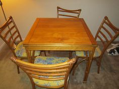 Heywood-Wakefield Faux Bamboo Dining Room Table and 6 chairs for sale on E-Bay