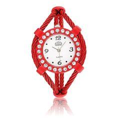 Sale 28% (3.99$) - CUSSI Women Crystal Alloy Band Analog Bracelet Wrist Watch