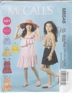 7df0c5fcca73 Easy Dress Pattern Pullover Top Shorts Girls Plus Size 10 1 2 - 16 1 2  Uncut McCalls 6546
