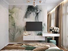 виз спальни visualization of the bedroom on Behance Modern Bedroom Design, Home Room Design, Home Interior Design, Living Room Designs, Tv In Bedroom, Home Decor Bedroom, Dressing Room Design, Elegant Home Decor, Luxurious Bedrooms