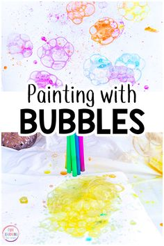 Painting with bubbles is the perfect art activity for summer or spring. Your kids are going to have a blast while bubble painting! Art Activities For Toddlers, Summer Activities For Kids, Craft Activities, Preschool Crafts, Preschool Ideas, Spring Painting, Painting For Kids, Art For Kids, Crafts For Kids
