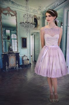 Kitten D'amour Minuet Dress -  - new vintage - lilac lavender purple lace, bow ribbon
