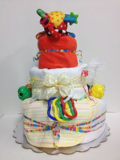 Primary Color Diaper Cake for boy or girl view 2